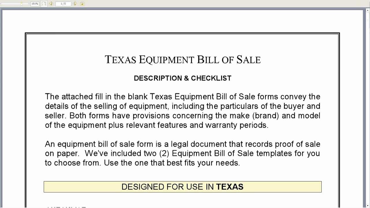 Equipment Bill Of Sale Template Luxury Free Printable Equipment Bill Sale Template form Generic