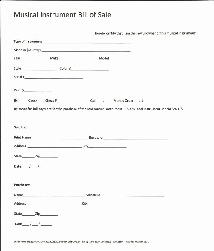 Equipment Bill Of Sale Template New Printable Sample Equipment Bill Sale Template form