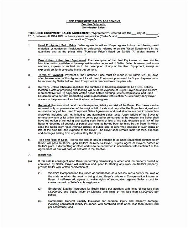 Equipment Bill Of Sale Template Unique Sample Equipment Bill Of Sale 6 Documents In Pdf Word