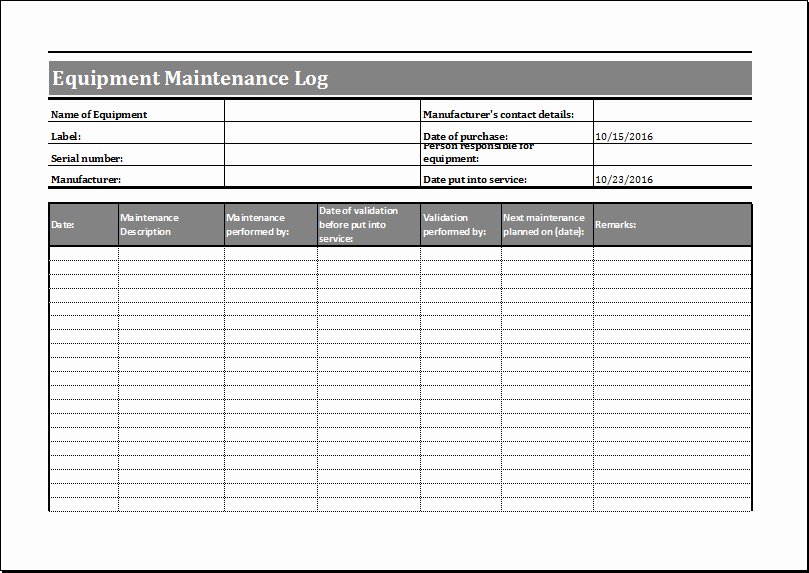 Equipment Maintenance Log Template Awesome Equipment Maintenance Log Template