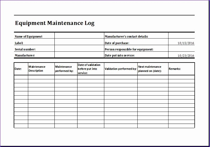 Equipment Maintenance Log Template Beautiful 11 Purchase Request form Exceltemplates Exceltemplates