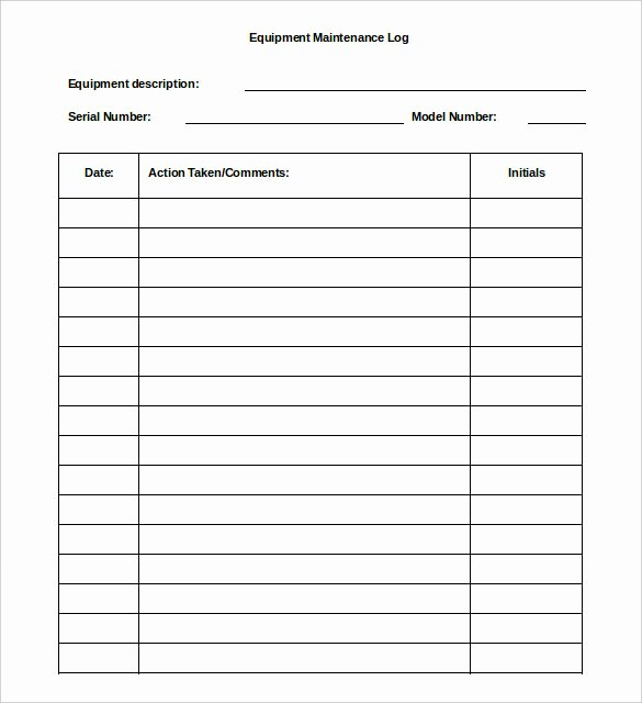 Equipment Maintenance Log Template Beautiful 16 Log Templates Free Word Excel Pdf