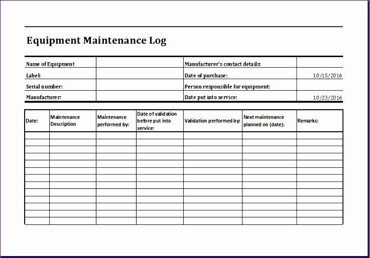 Equipment Maintenance Log Template Excel Beautiful Rental Vehicle Log Book 6pfkd Unique Equipment Maintenance