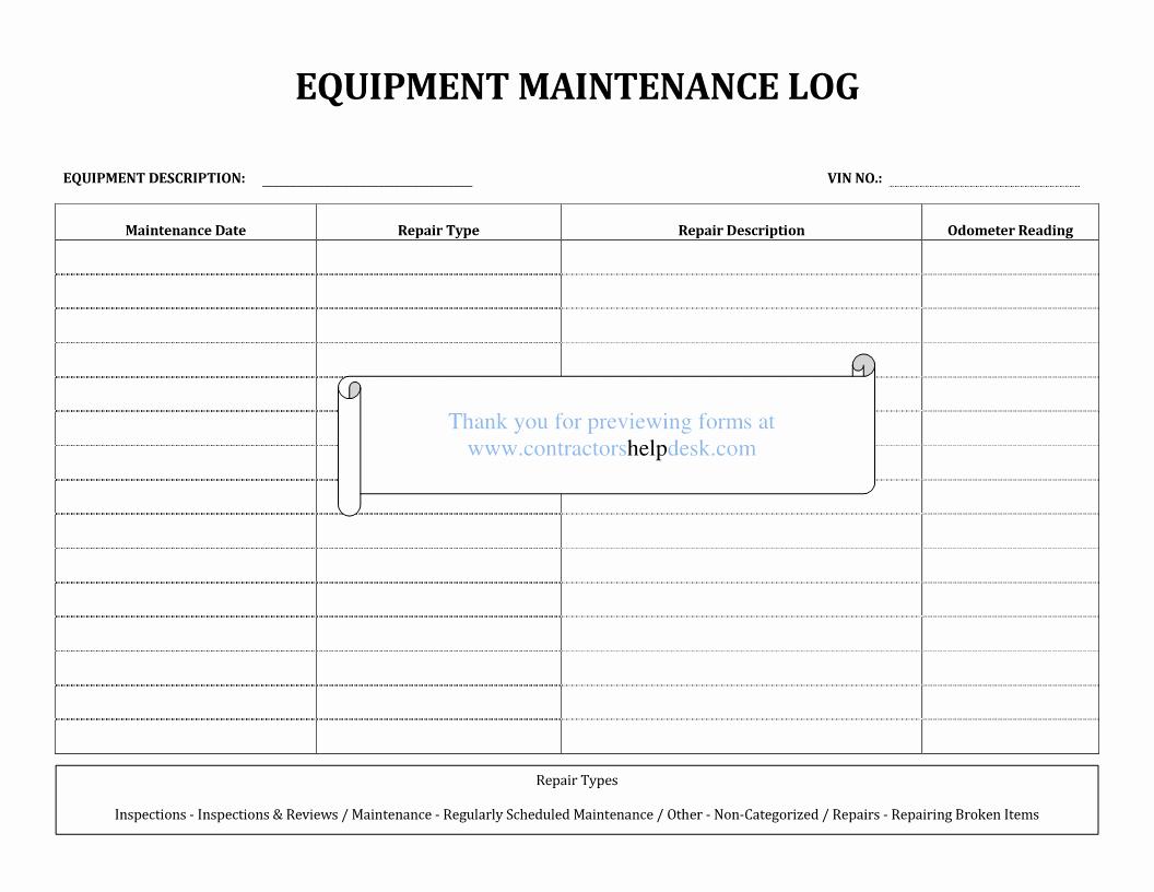Equipment Maintenance Log Template Excel Fresh 29 Of Maintenance Request Log Template