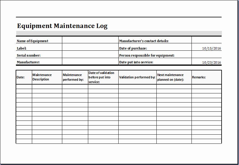 Equipment Maintenance Log Template Excel Luxury Equipment Maintenance Log Template Ms Excel