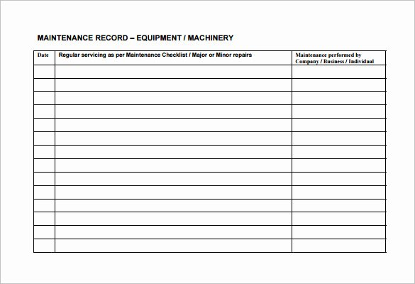 Equipment Maintenance Log Template Excel Luxury Equipment Maintenance Schedule Template Excel