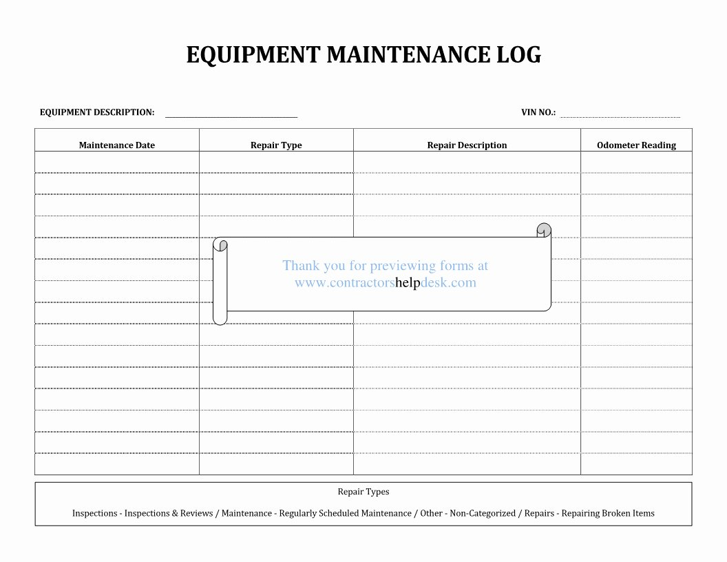 Equipment Maintenance Log Template Excel New Heavy Equipment Maintenance Spreadsheet Spreadsheet