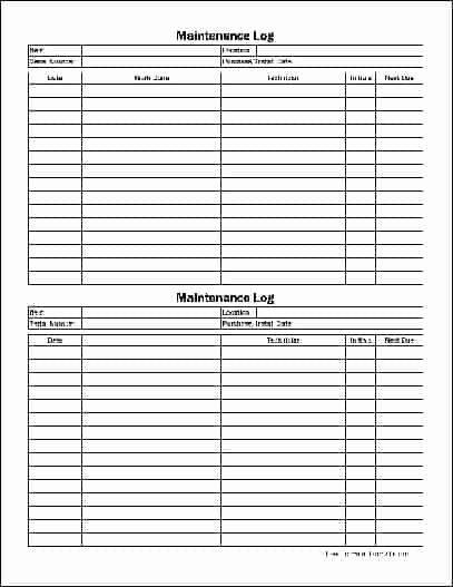 Equipment Maintenance Log Template Excel Unique 5 Equipment Maintenance Log Templates – Word Templates