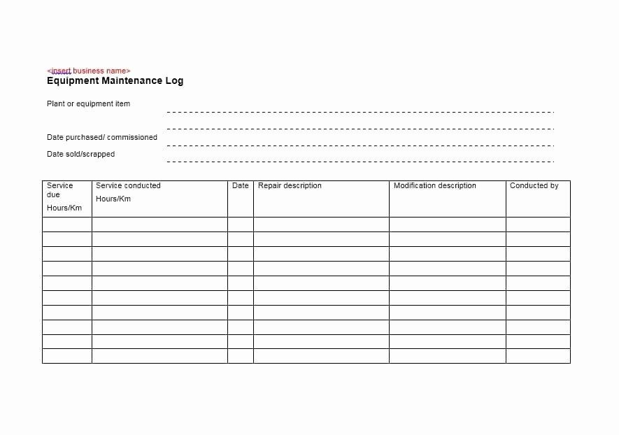 Equipment Maintenance Log Template Luxury 40 Equipment Maintenance Log Templates Template Archive