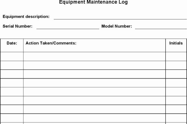 Equipment Maintenance Log Template New Log Template