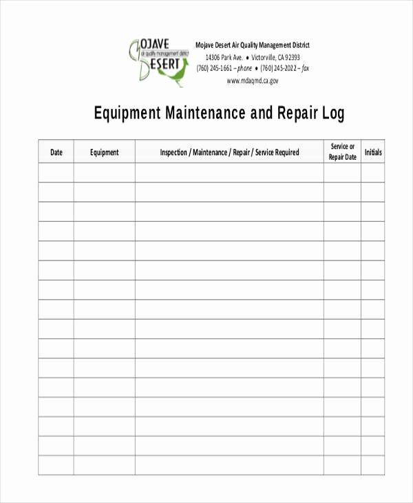 Equipment Maintenance Log Template Unique 38 Free Log Sheet Samples & Templates Pdf Doc