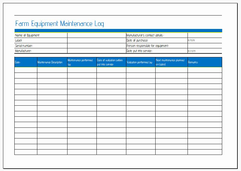 Equipment Maintenance Log Template Unique Farm Equipment Maintenance Sheet for Ms Excel