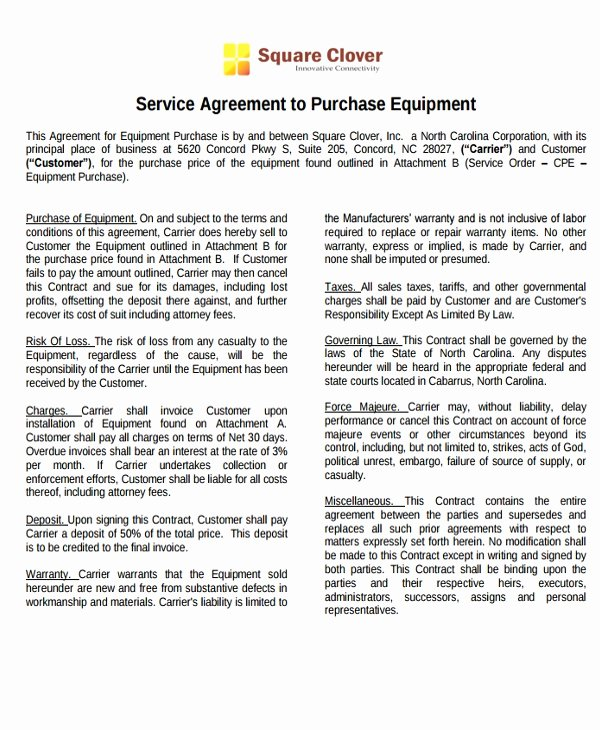 Equipment Purchase Agreement Template Awesome 9 Equipment Purchase Agreement Templates Pdf Word
