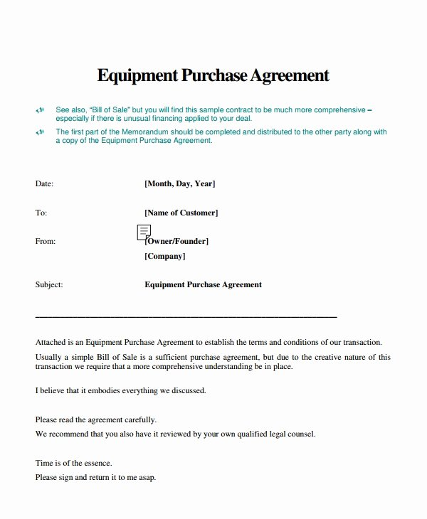 Equipment Purchase Agreement Template Beautiful 9 Equipment Purchase Agreement Templates Pdf Word