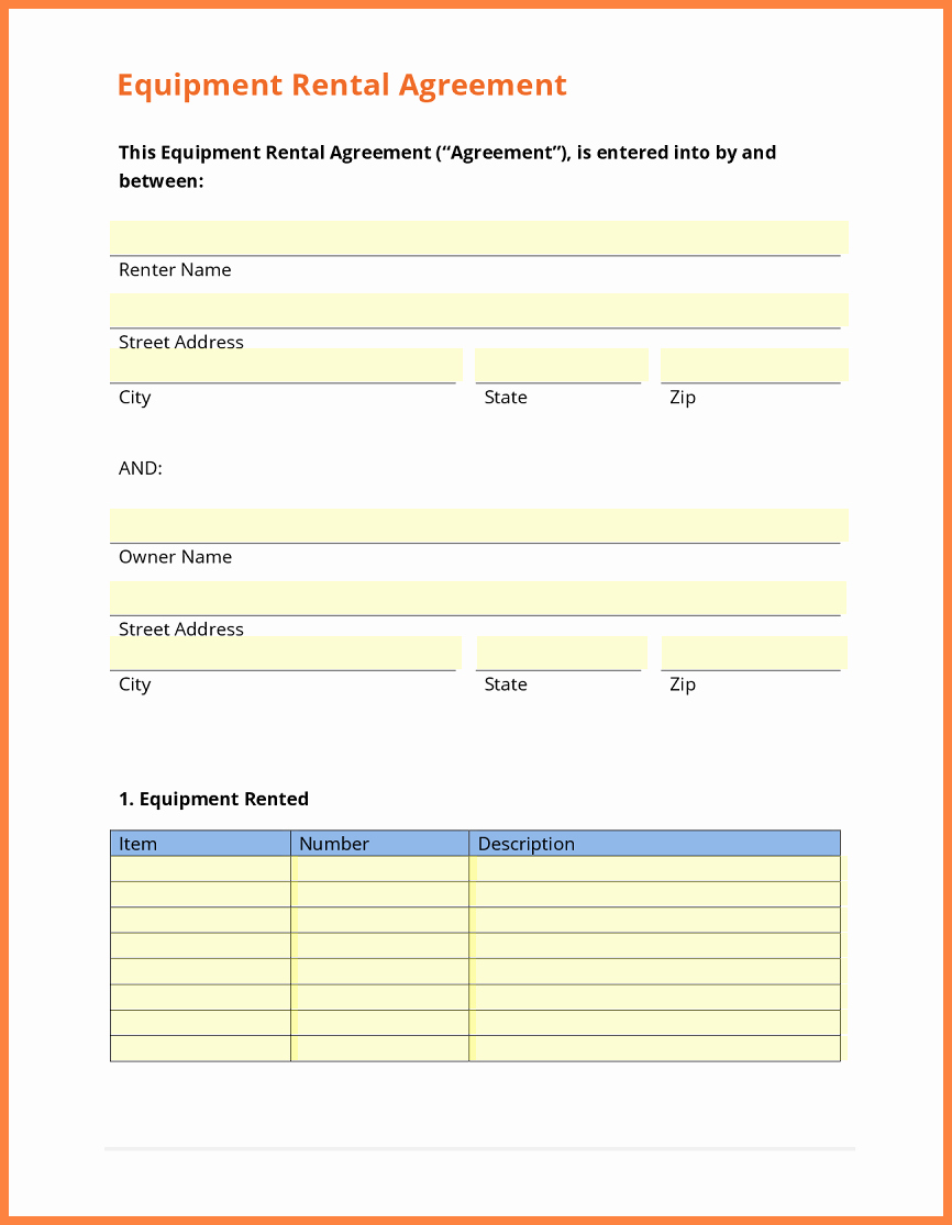 Equipment Purchase Agreement Template Beautiful 9 Equipment Rental Agreement form Template