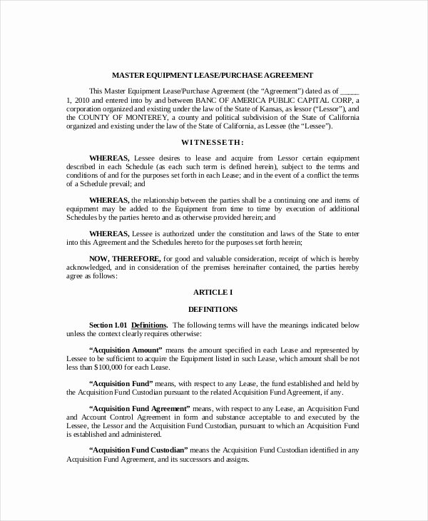 Equipment Purchase Agreement Template Best Of 9 Lease Purchase Agreement Word Pdf Google Docs