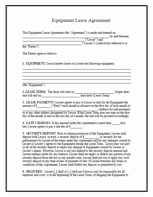 Equipment Purchase Agreement Template Best Of Download Fillable Pdf forms for Free