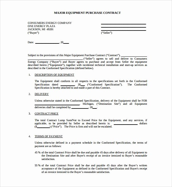 Equipment Purchase Agreement Template Elegant Sample Equipment Purchase Agreement 7 Free Documents