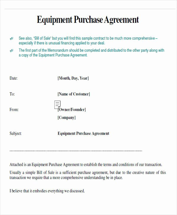Equipment Purchase Agreement Template Fresh 43 Simple Agreement forms