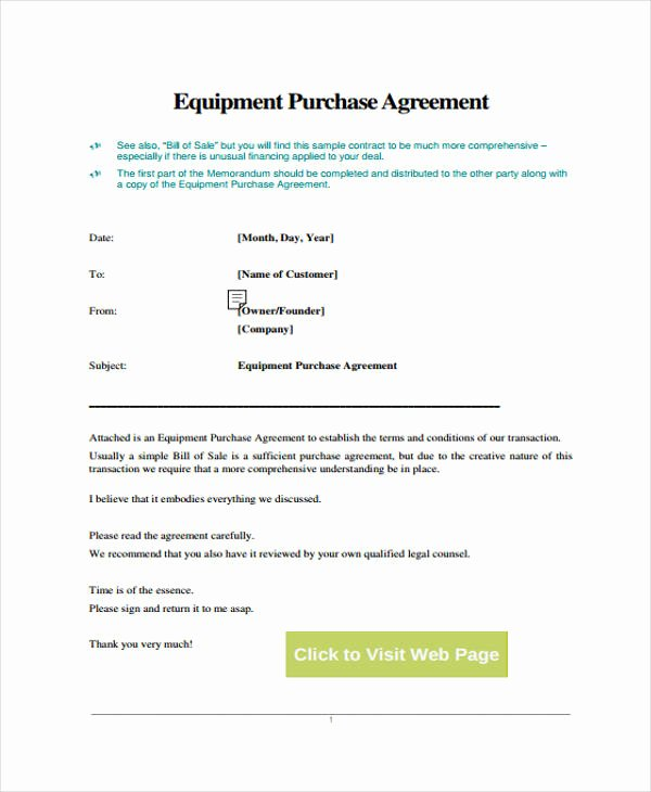 Equipment Purchase Agreement Template Lovely 29 Free Contract Agreement forms