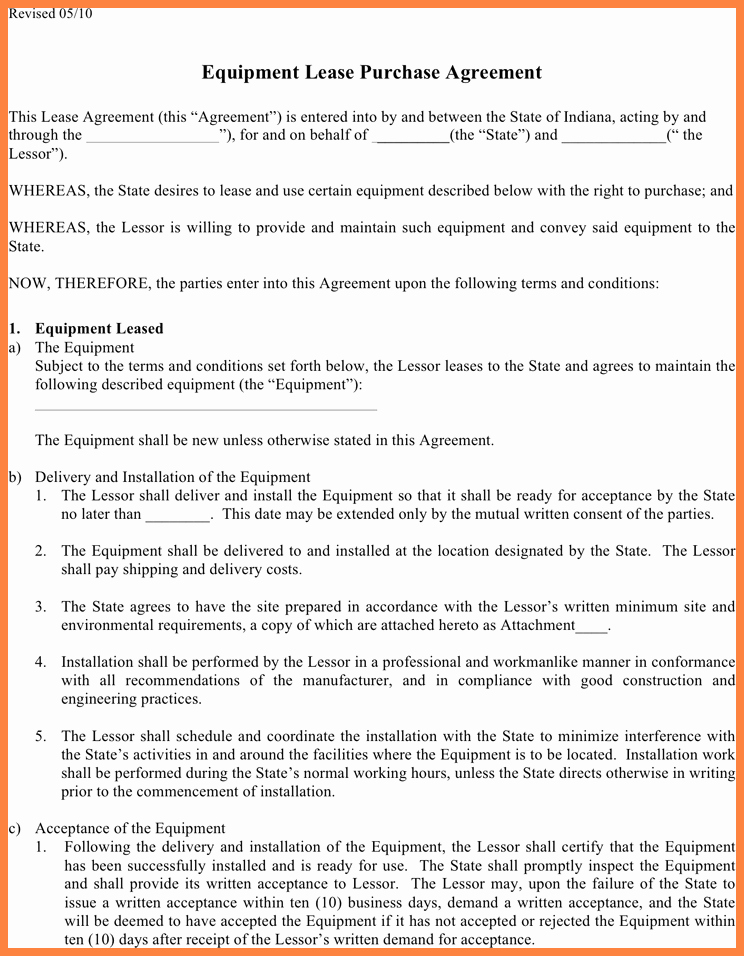 Equipment Purchase Agreement Template Lovely 6 Equipment Lease Purchase Agreement form