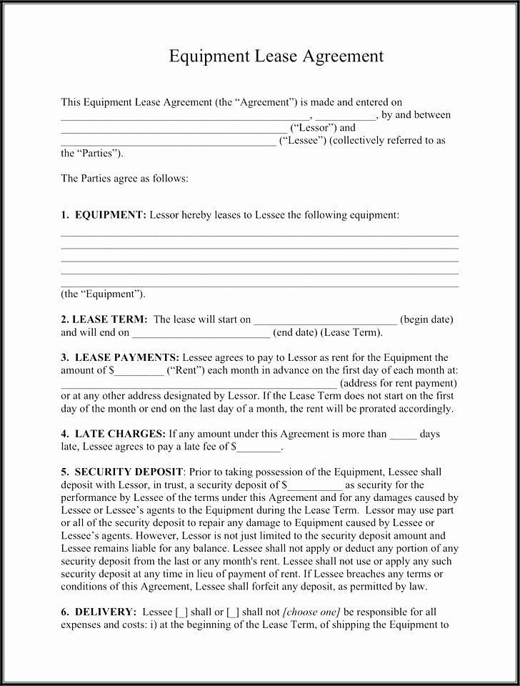 Equipment Purchase Agreement Template Lovely Equipment Lease form Template Picture – Equipment Lease