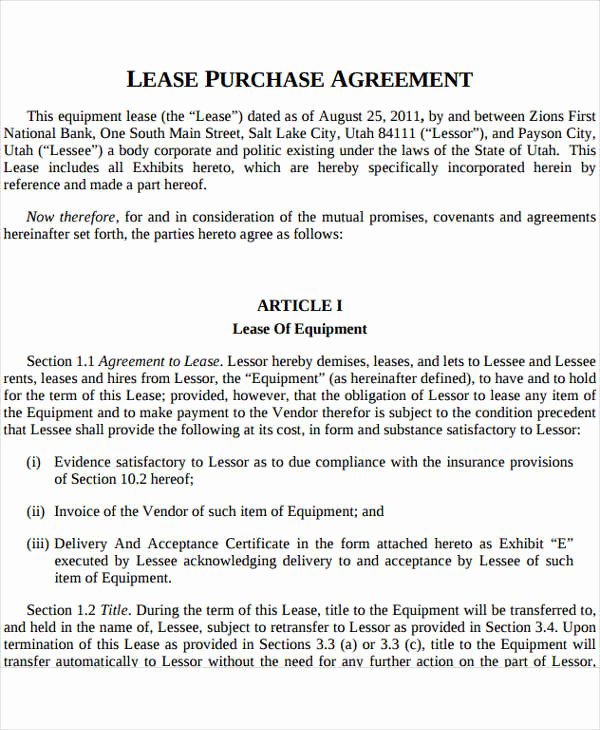 Equipment Purchase Agreement Template Lovely Rent to Own Contract Template 9 Free Word Excel Pdf