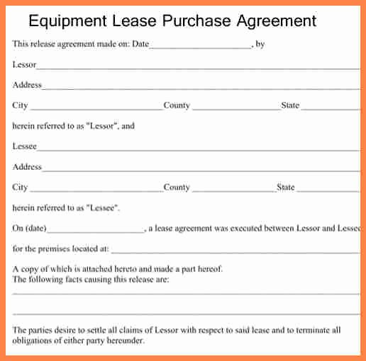 Equipment Purchase Agreement Template Luxury 6 Equipment Lease Purchase Agreement form