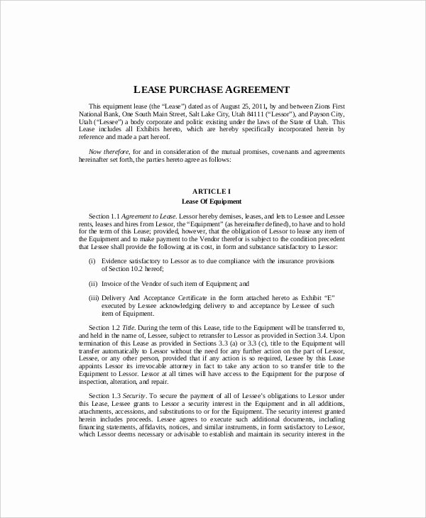 Equipment Purchase Agreement Template New 10 Equipment Lease Templates Word Pdf Google Docs