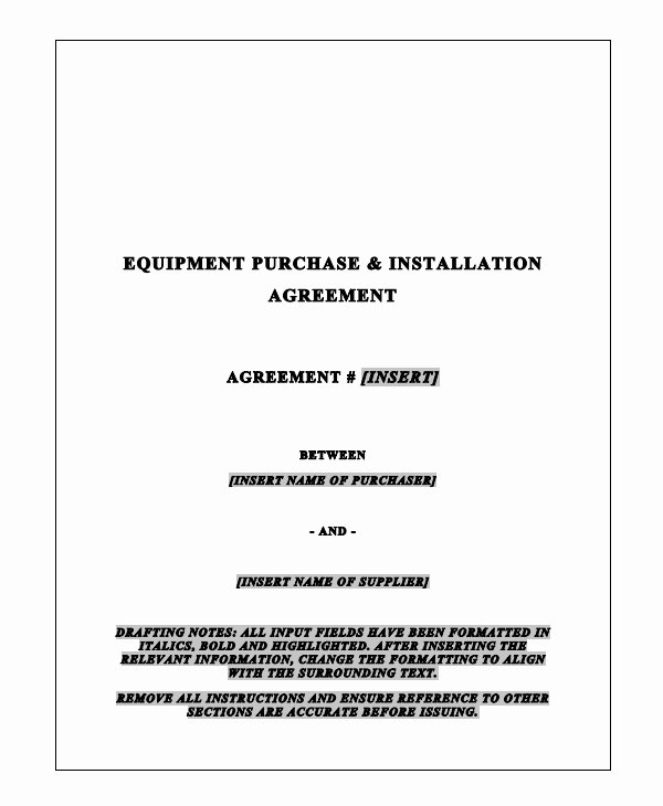 Equipment Purchase Agreement Template New 9 Equipment Purchase Agreement Templates Pdf Word