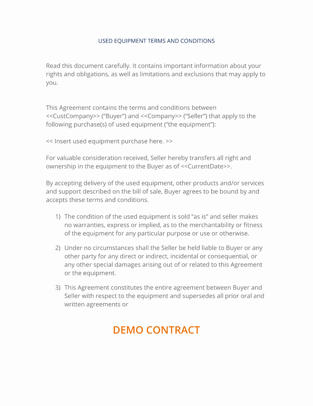 Equipment Purchase Agreement Template Unique Sale Of Used Equipment Terms and Conditions 3 Easy Steps