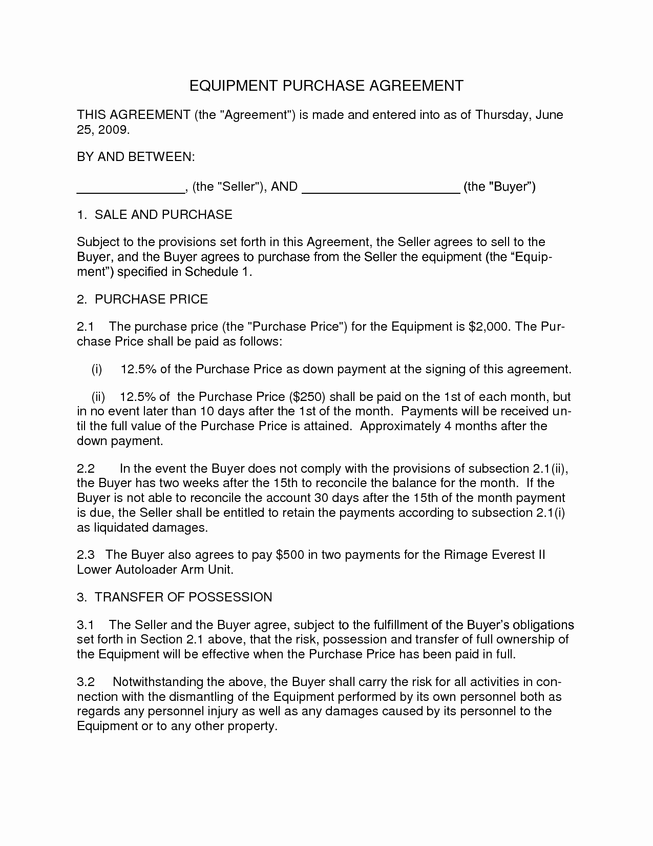 Equipment Purchase Proposal Template Fresh Agreement Template Category Page 2 Efoza