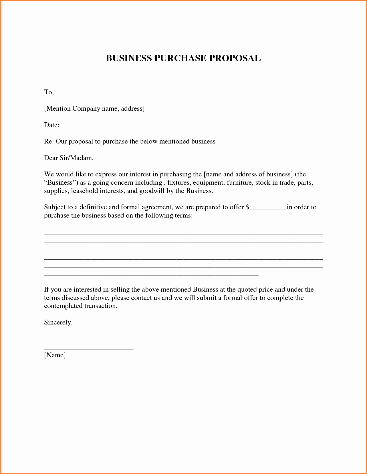 Equipment Purchase Proposal Template Lovely 7 Business Purchase Proposal