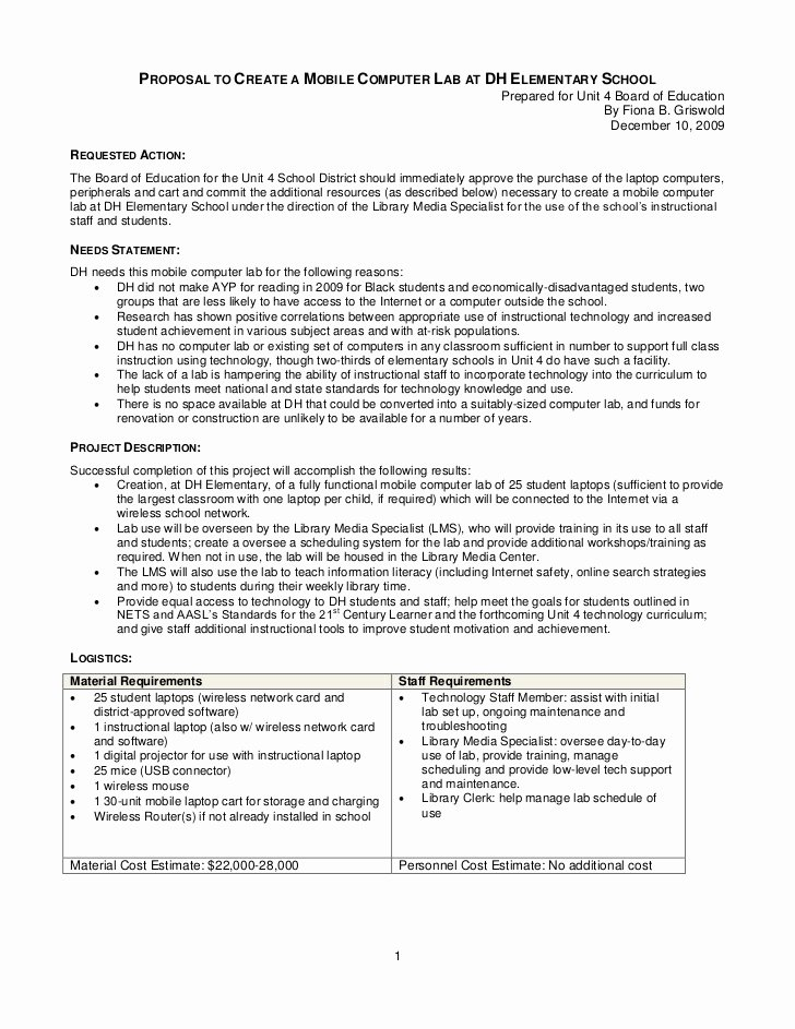 Equipment Purchase Proposal Template Unique Mobile Puter Lab Board Document