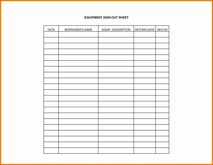 Equipment Sign Out Sheet Template Awesome Equipment Sign Out Sheet Template
