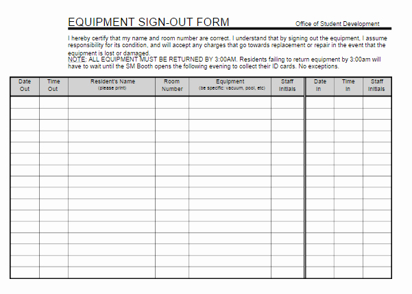 Equipment Sign Out Sheet Template Beautiful Equipment Sign Out Sheet