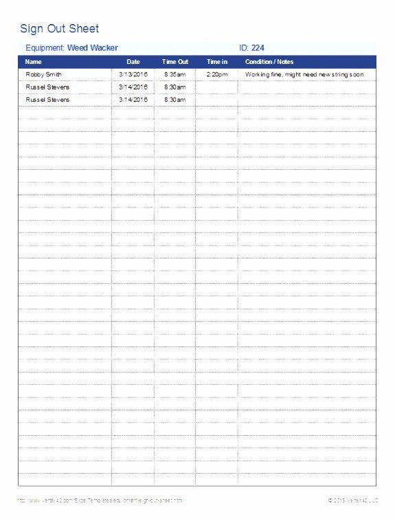 Equipment Sign Out Sheet Template Best Of 6 Check Out form Template Ierwr