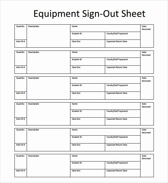 Equipment Sign Out Sheet Template Fresh Sample Sign Out Sheet Template 8 Free Documents