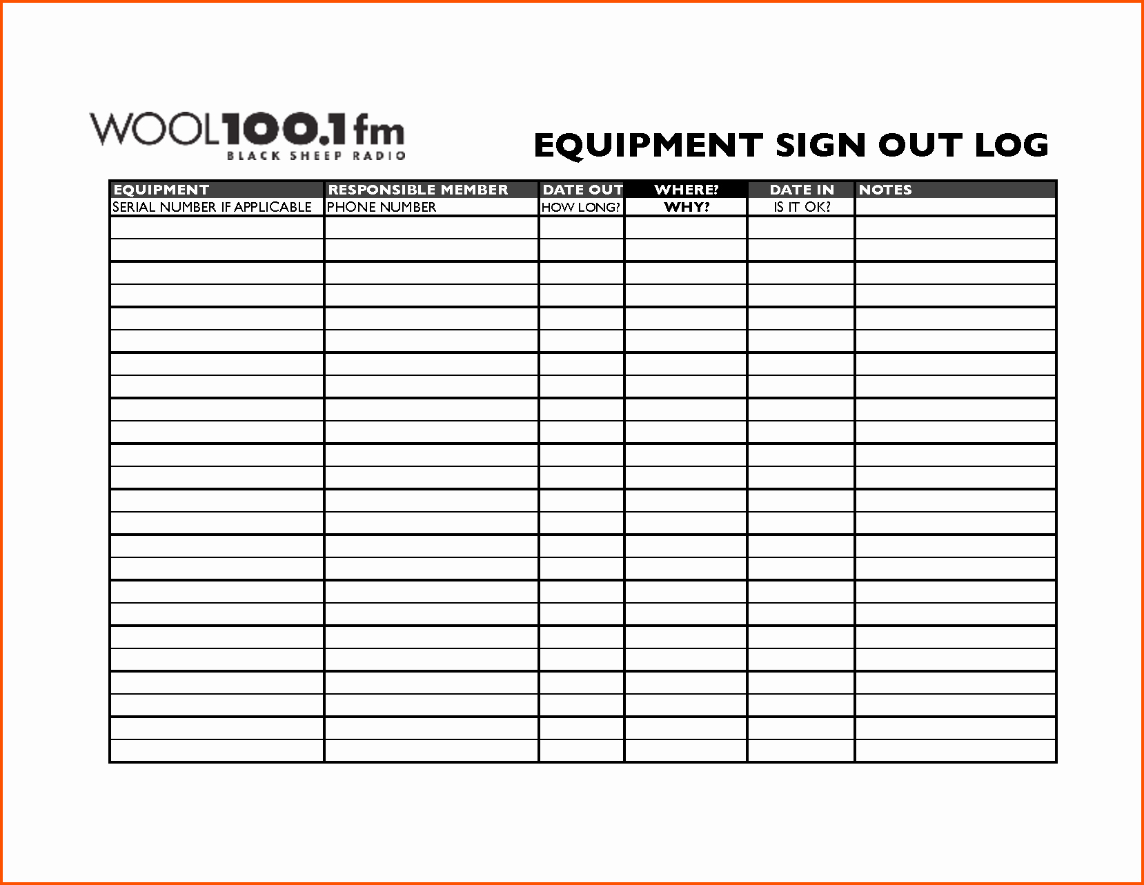 Equipment Sign Out Sheet Template Inspirational 14 Equipment Sign Out Sheet