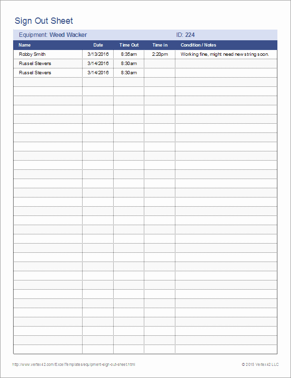 Equipment Sign Out Sheet Template Inspirational Equipment Sign Out Sheet