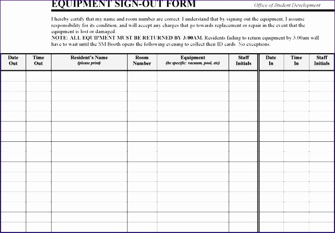 Equipment Sign Out Sheet Template Lovely 6 Student attendance Sheet Template Excel Exceltemplates