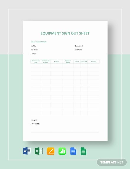 Equipment Sign Out Sheet Template Lovely Equipment Sign Out Sheet Template Pdf Word