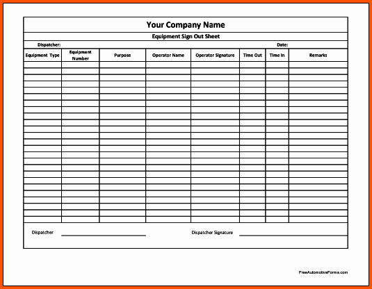 Equipment Sign Out Sheet Template Luxury 14 Equipment Sign Out Sheet