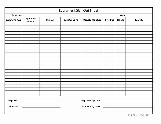 Equipment Sign Out Sheet Template Luxury Free Basic Equipment Sign Out Sheet Supervisor Signature