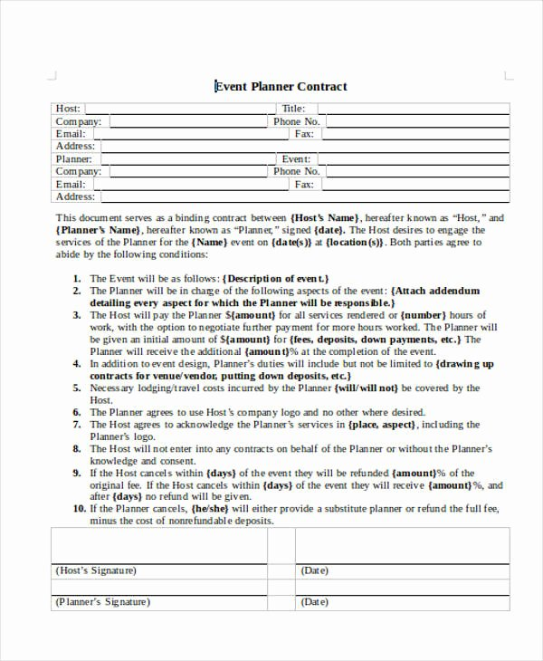 Event Planner Contract Template Best Of event Planner Contract Sample 14 Examples In Word Pdf