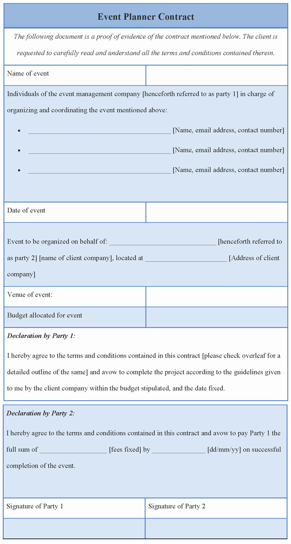 Event Planner Contract Template Elegant Contract Template for event Planner format Of event