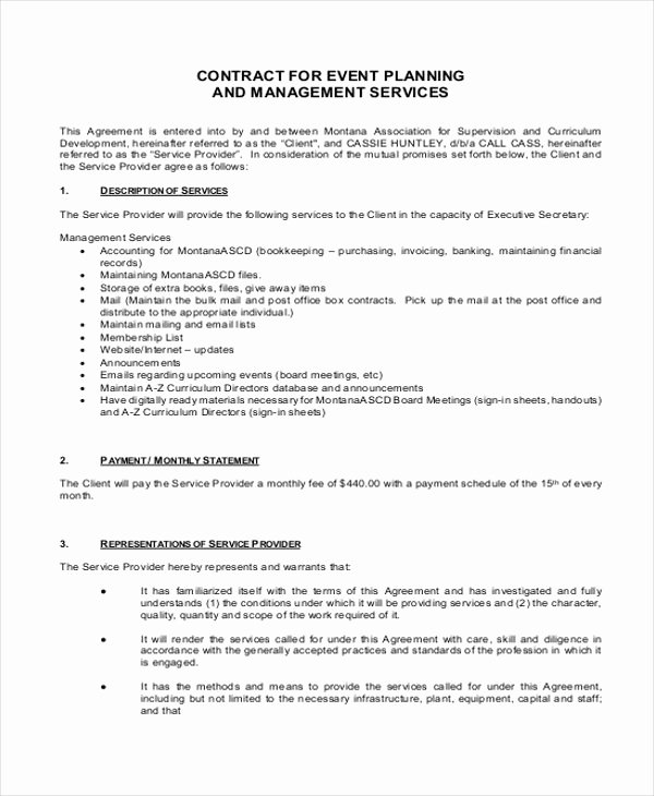 Event Planner Contract Template Elegant event Planner Contract Sample 14 Examples In Word Pdf