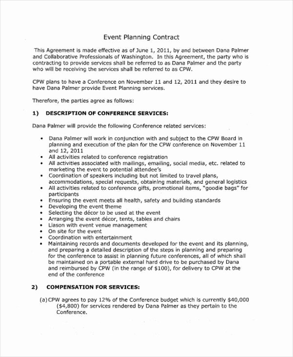 Event Planner Contract Template Lovely 18 event Contract Templates Sample Word Google Docs
