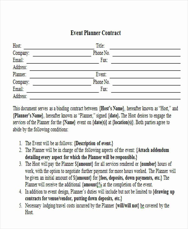 Event Planner Contract Template Luxury 15 event Contract Templates Sample Example format