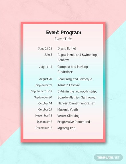 Event Program Template Word Best Of Free event Program Template Download 31 Program
